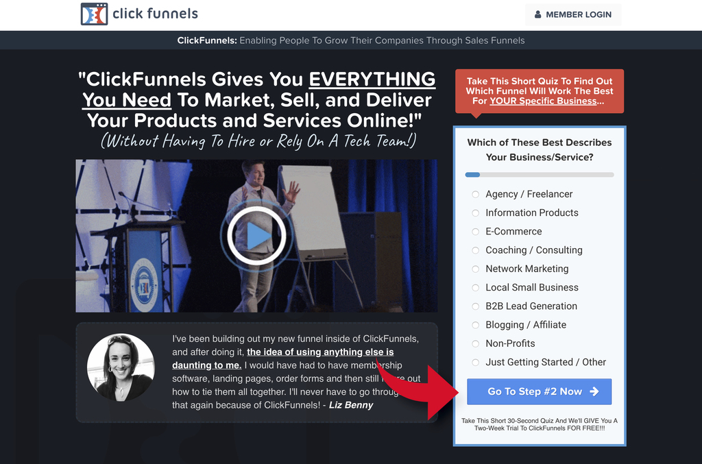 Clickfunnels homepage call to action